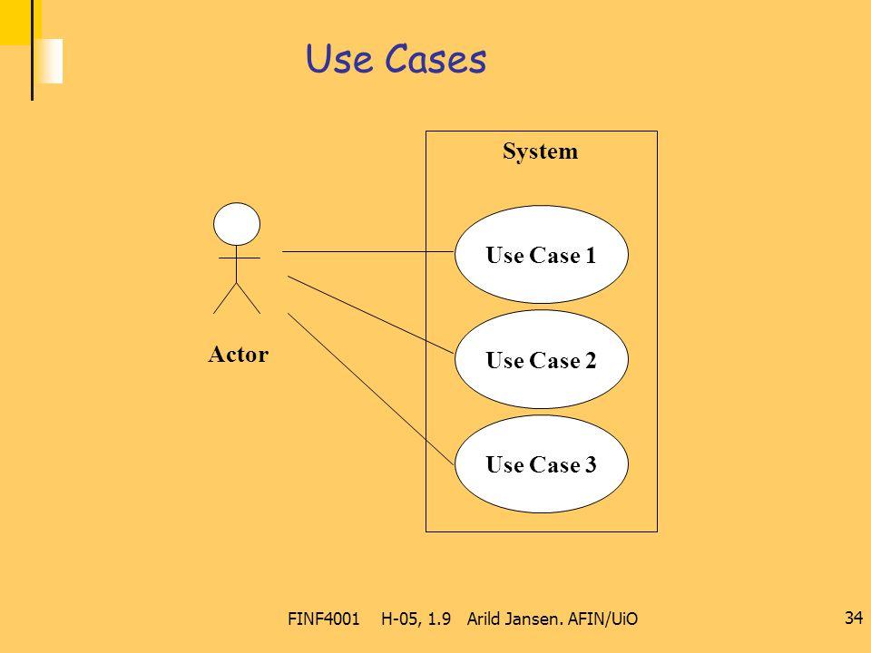 FINF4001 H-05, 1.9 Arild Jansen. AFIN/UiO 34 Use Cases System Use Case 2 Use Case 3 Use Case 1 Actor