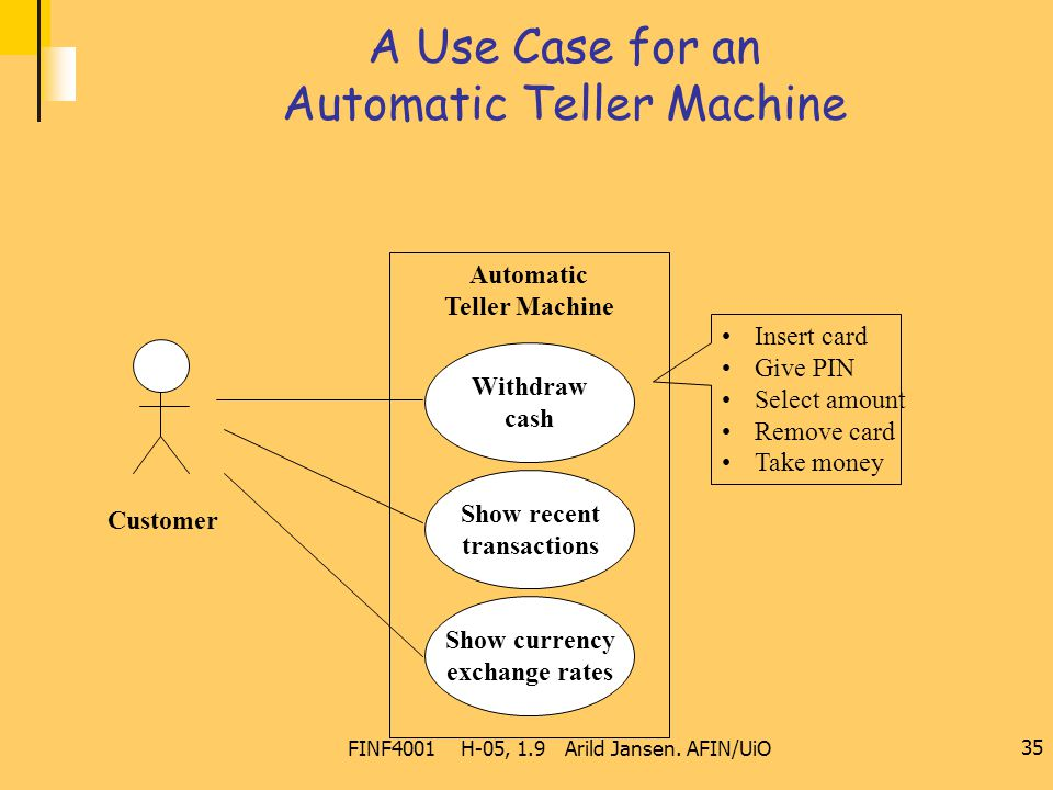 FINF4001 H-05, 1.9 Arild Jansen. AFIN/UiO 35 A Use Case for an Automatic Teller Machine Automatic Teller Machine Show recent transactions Show currenc