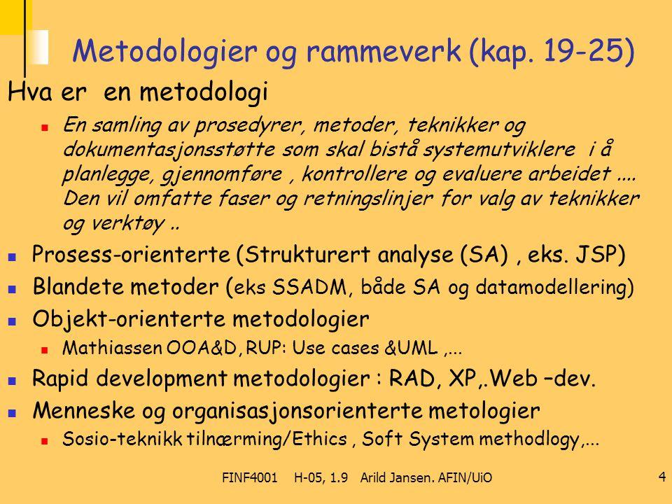 FINF4001 H-05, 1.9 Arild Jansen. AFIN/UiO 4 Metodologier og rammeverk (kap. 19-25) Hva er en metodologi En samling av prosedyrer, metoder, teknikker o