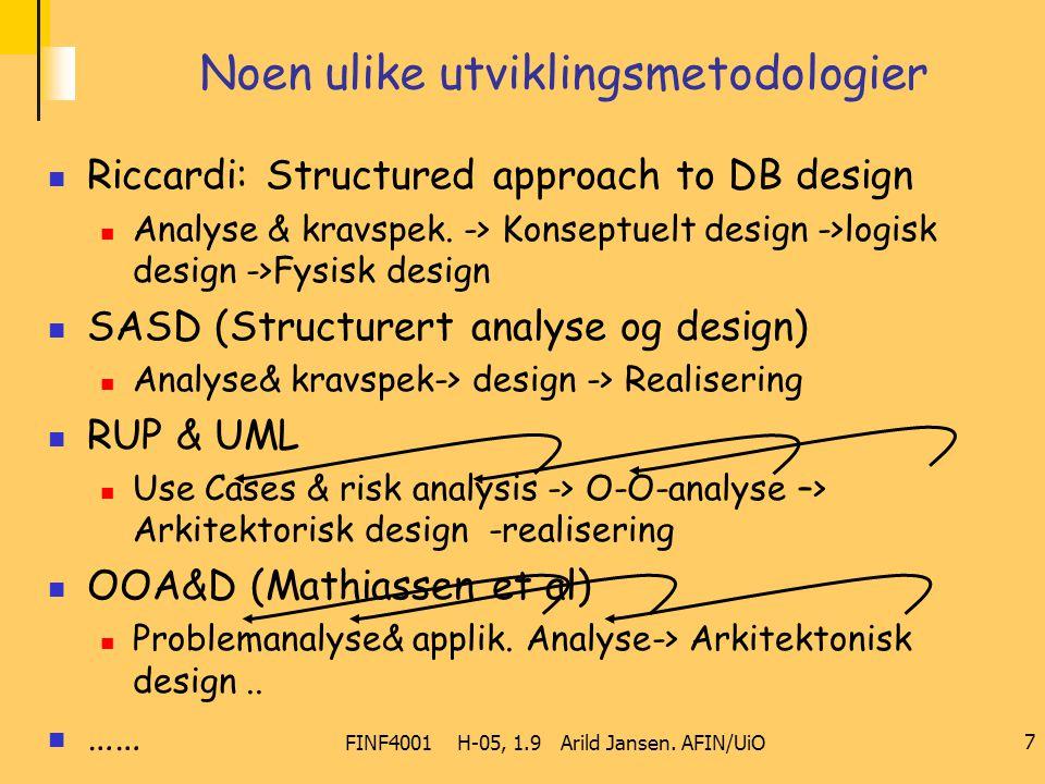 FINF4001 H-05, 1.9 Arild Jansen. AFIN/UiO 7 Noen ulike utviklingsmetodologier Riccardi: Structured approach to DB design Analyse & kravspek. -> Konsep