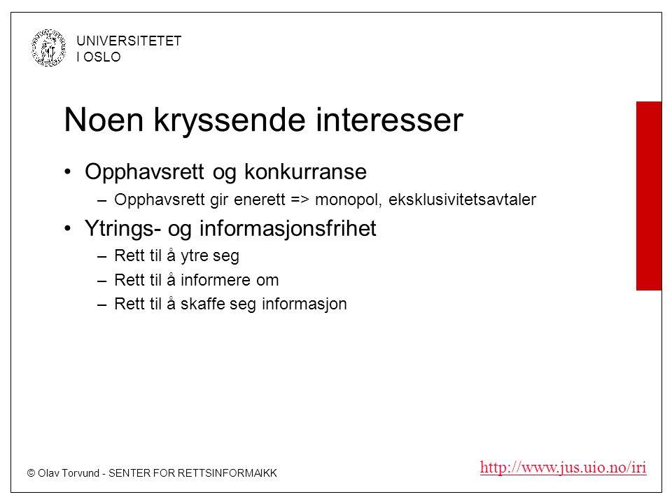 © Olav Torvund - SENTER FOR RETTSINFORMAIKK UNIVERSITETET I OSLO http://www.jus.uio.no/iri Noen kryssende interesser Opphavsrett og konkurranse –Opphavsrett gir enerett => monopol, eksklusivitetsavtaler Ytrings- og informasjonsfrihet –Rett til å ytre seg –Rett til å informere om –Rett til å skaffe seg informasjon