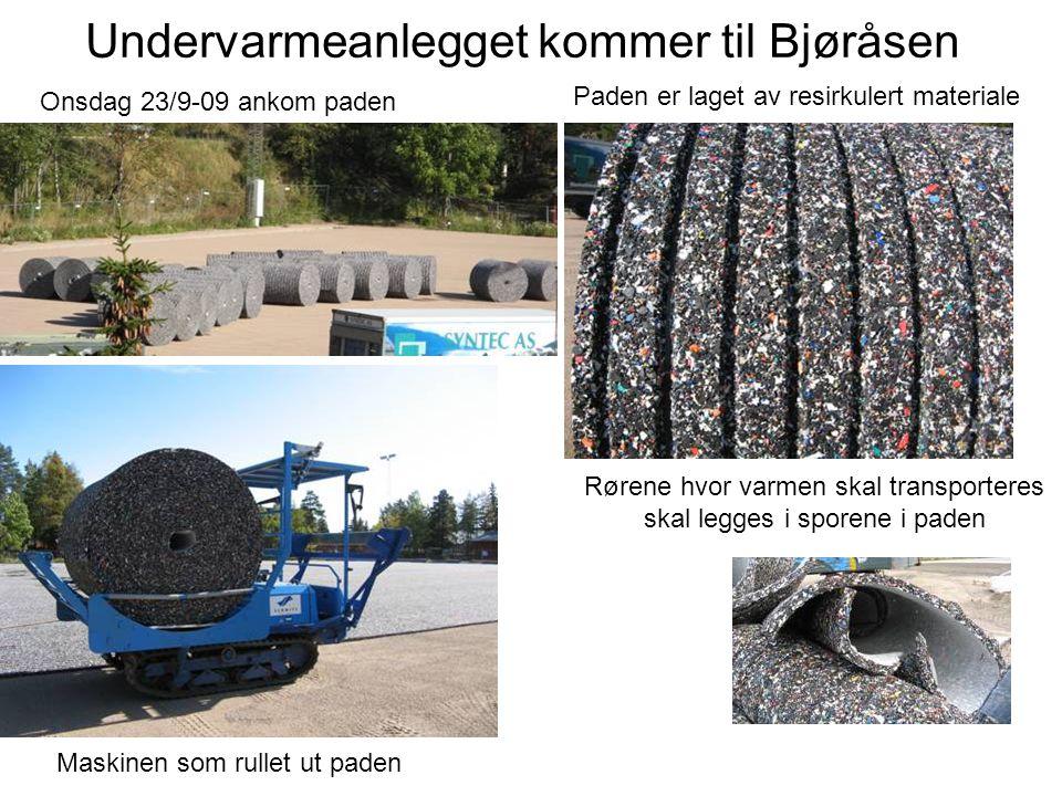 Undervarmeanlegget kommer til Bjøråsen Onsdag 23/9-09 ankom paden Paden er laget av resirkulert materiale Rørene hvor varmen skal transporteres skal legges i sporene i paden Maskinen som rullet ut paden