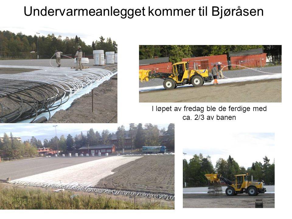 Undervarmeanlegget kommer til Bjøråsen I løpet av fredag ble de ferdige med ca. 2/3 av banen