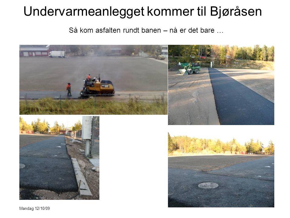 Undervarmeanlegget kommer til Bjøråsen Så kom asfalten rundt banen – nå er det bare … Mandag 12/10/09