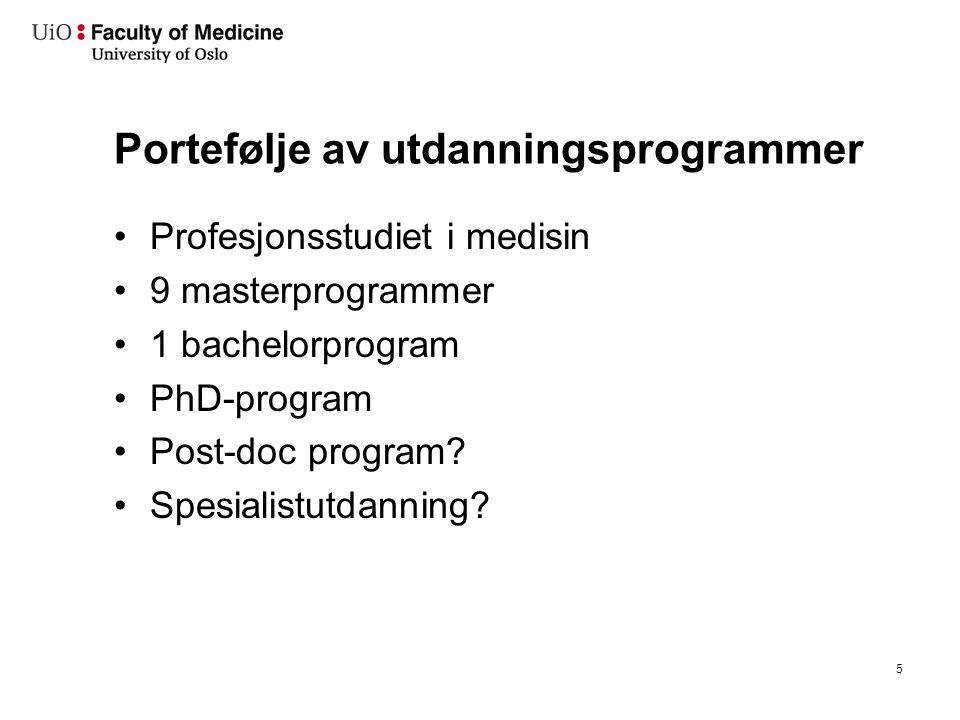 Portefølje av utdanningsprogrammer Profesjonsstudiet i medisin 9 masterprogrammer 1 bachelorprogram PhD-program Post-doc program? Spesialistutdanning?