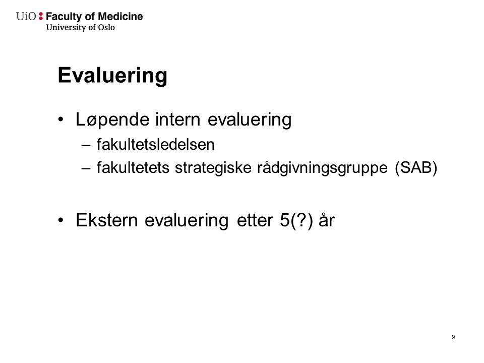 Evaluering Løpende intern evaluering –fakultetsledelsen –fakultetets strategiske rådgivningsgruppe (SAB) Ekstern evaluering etter 5( ) år 9