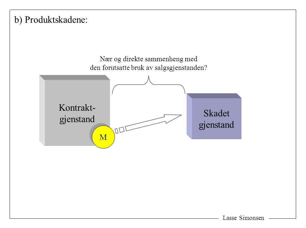 Lasse Simonsen b) Produktskadene: Skadet gjenstand Nær og direkte sammenheng med den forutsatte bruk av salgsgjenstanden? Kontrakt- gjenstand M M