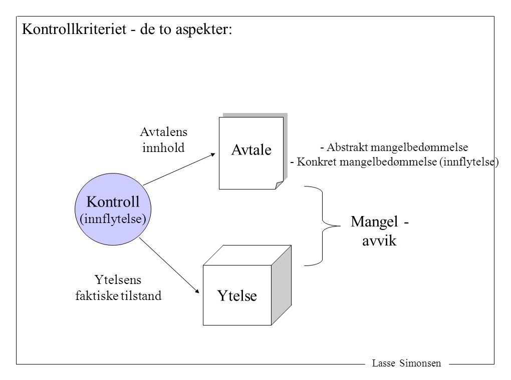 Lasse Simonsen Avtale Ytelse Mangel - avvik Kontroll (innflytelse) Avtalens innhold Ytelsens faktiske tilstand Kontrollkriteriet - de to aspekter: - A