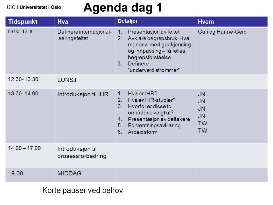 Agenda dag 2 TidspunktHva Detaljer Hvem 09.00- 09.15 Oppsummering dag 1 09.15- 10.00 Intro til kartlegging og analyse av dagens situasjon 10.00- 12.30 Overordnet kartleggingDefinere grenseflater mellom de prioriterte arbeidsområdene 12.30- 13.30 LUNSJ 13.30 – 17.00 Mer detaljert kartlegging av prioriterte områder I arbeidsgruppene (TW fasiliterer gruppe 1 og JN gruppe 2) 19.00 MIDDAG Korte pauser ved behov