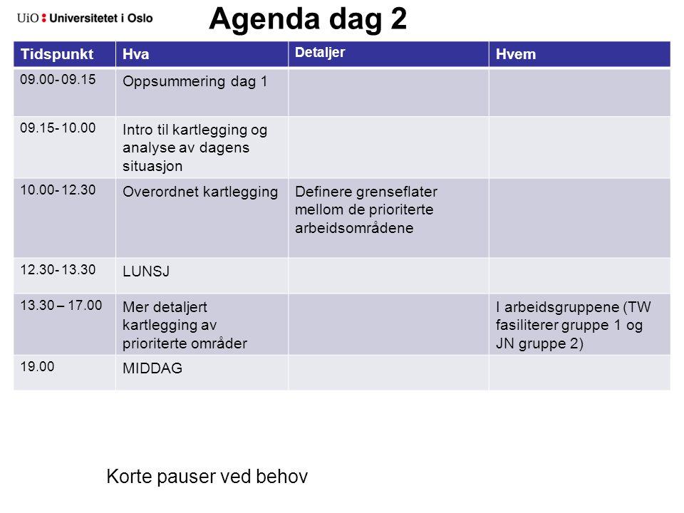 Agenda dag 3 TidspunktHva Detaljer Hvem 09.00- 09.15 Oppsummering dag 2 09.15-12.30 En første start på løsninger og forbedringspotensial 1.Lage ønskesituasjon, se på mulige løsninger 2.Definere løsnings- og forbedringsideer 12.00-13.00?.
