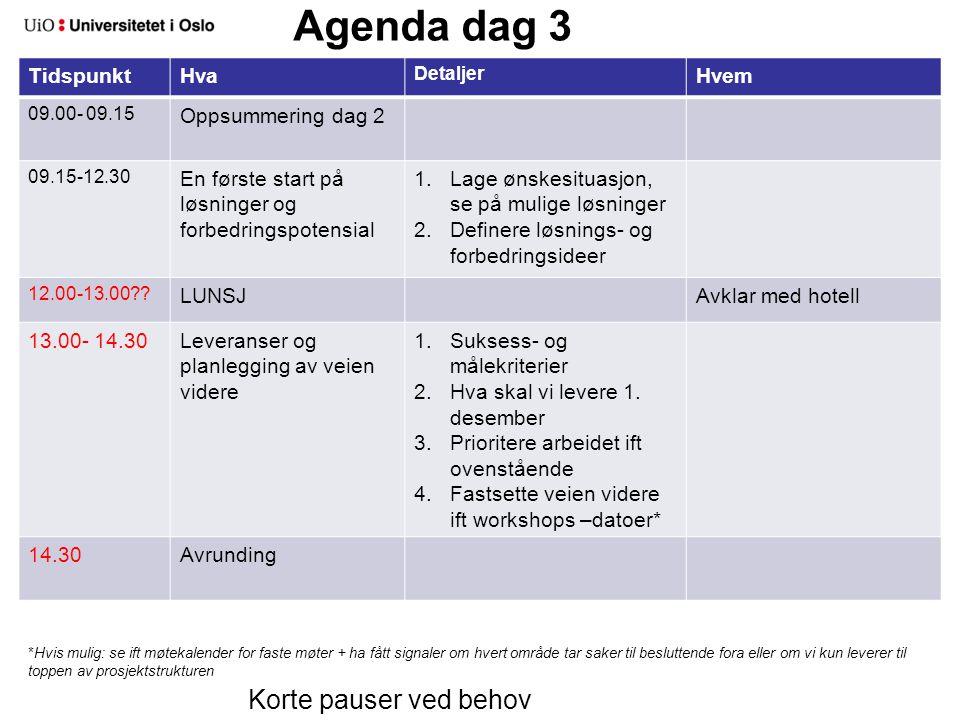 Agenda dag 3 TidspunktHva Detaljer Hvem 09.00- 09.15 Oppsummering dag 2 09.15-12.30 En første start på løsninger og forbedringspotensial 1.Lage ønskesituasjon, se på mulige løsninger 2.Definere løsnings- og forbedringsideer 12.00-13.00 .