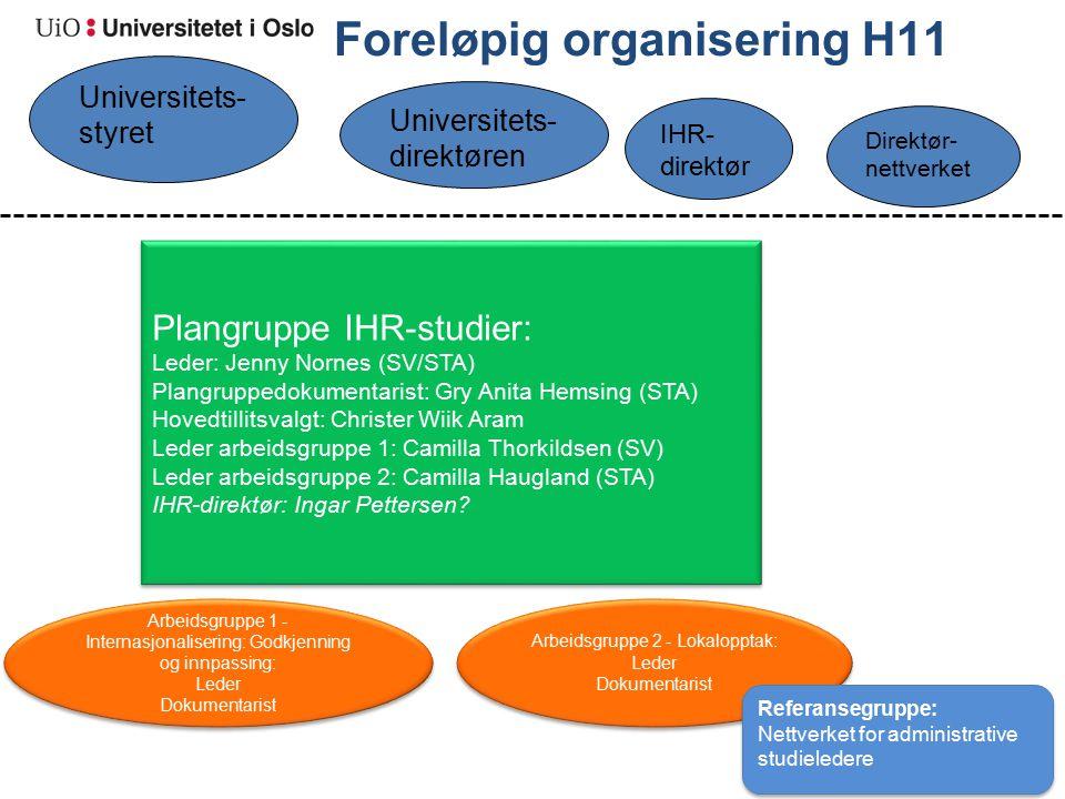 Foreløpig organisering H11 Plangruppe IHR-studier: Leder: Jenny Nornes (SV/STA) Plangruppedokumentarist: Gry Anita Hemsing (STA) Hovedtillitsvalgt: Ch