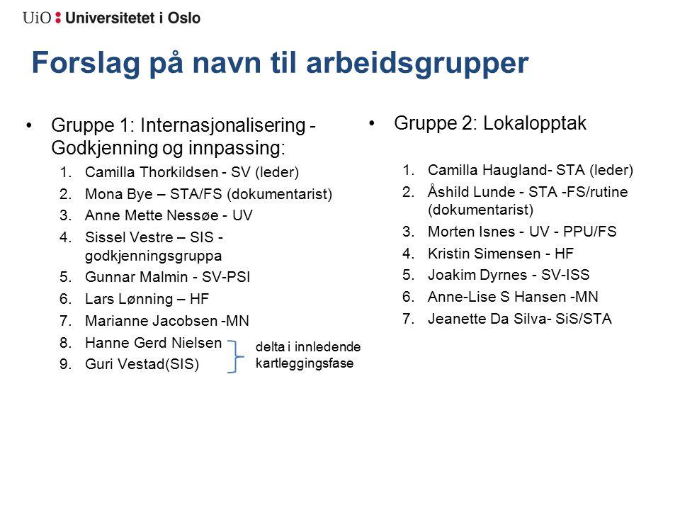 Forslag på navn til arbeidsgrupper Gruppe 2: Lokalopptak 1.Camilla Haugland- STA (leder) 2.Åshild Lunde - STA -FS/rutine (dokumentarist) 3.Morten Isnes - UV - PPU/FS 4.Kristin Simensen - HF 5.Joakim Dyrnes - SV-ISS 6.Anne-Lise S Hansen -MN 7.Jeanette Da Silva- SiS/STA Gruppe 1: Internasjonalisering - Godkjenning og innpassing: 1.Camilla Thorkildsen - SV (leder) 2.Mona Bye – STA/FS (dokumentarist) 3.Anne Mette Nessøe - UV 4.Sissel Vestre – SIS - godkjenningsgruppa 5.Gunnar Malmin - SV-PSI 6.Lars Lønning – HF 7.Marianne Jacobsen -MN 8.Hanne Gerd Nielsen 9.Guri Vestad(SIS) delta i innledende kartleggingsfase