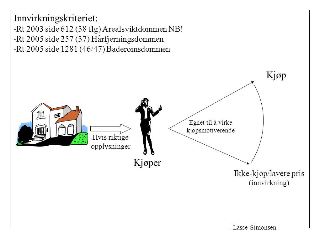 Lasse Simonsen Kjøp Ikke-kjøp/lavere pris (innvirkning) Hvis riktige opplysninger Innvirkningskriteriet: -Rt 2003 side 612 (38 flg) Arealsviktdommen NB.