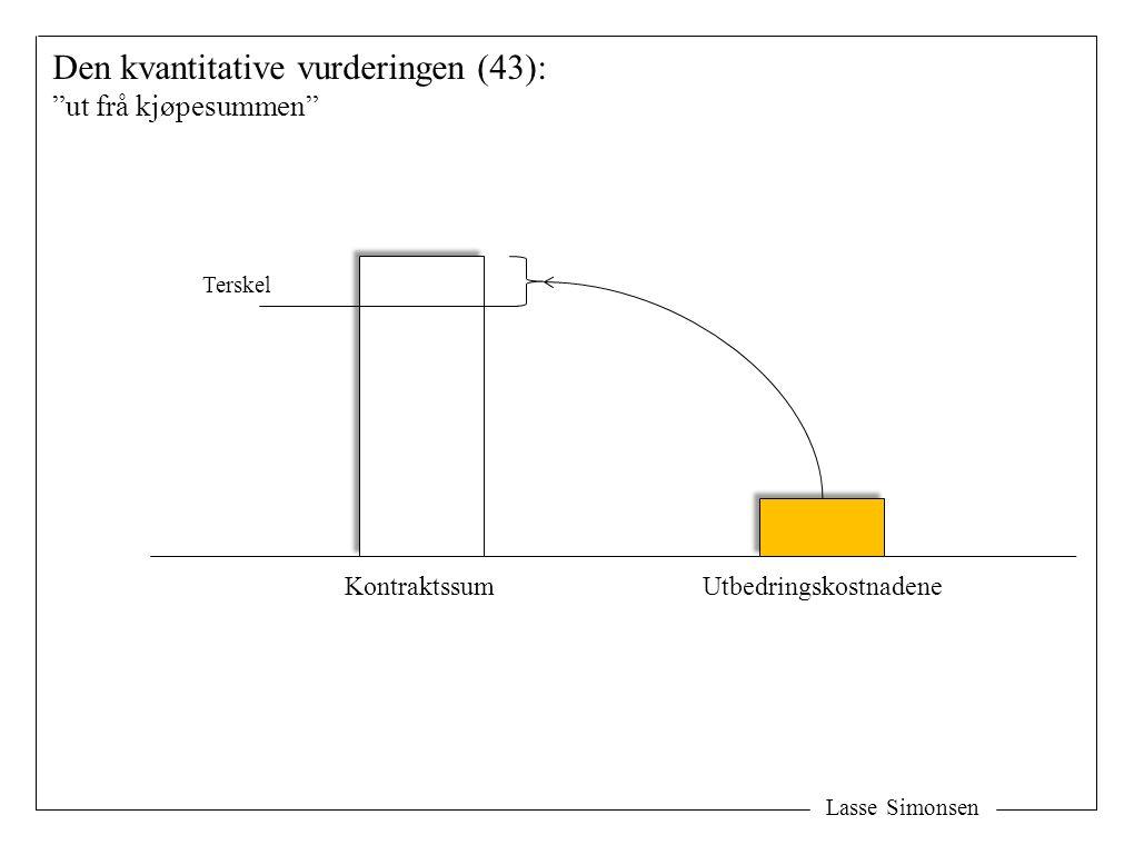 Lasse Simonsen Den kvantitative vurderingen (43): ut frå kjøpesummen KontraktssumUtbedringskostnadene Terskel
