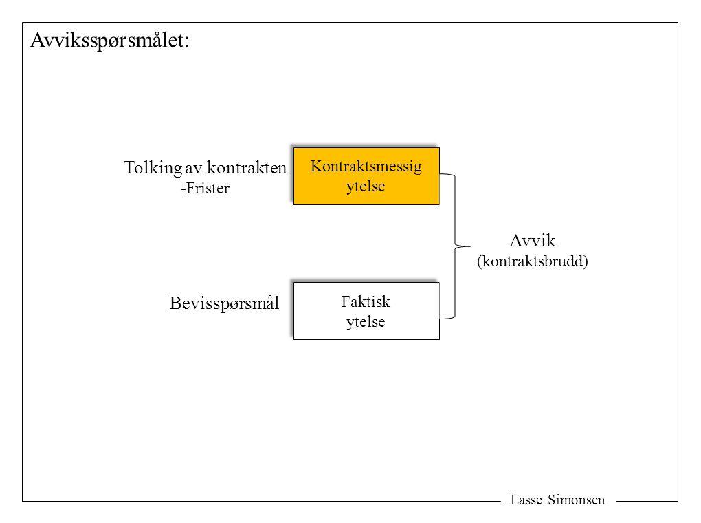 Lasse Simonsen Avviksspørsmålet: Kontraktsmessig ytelse Kontraktsmessig ytelse Faktisk ytelse Faktisk ytelse Avvik (kontraktsbrudd) Tolking av kontrakten -Frister Bevisspørsmål