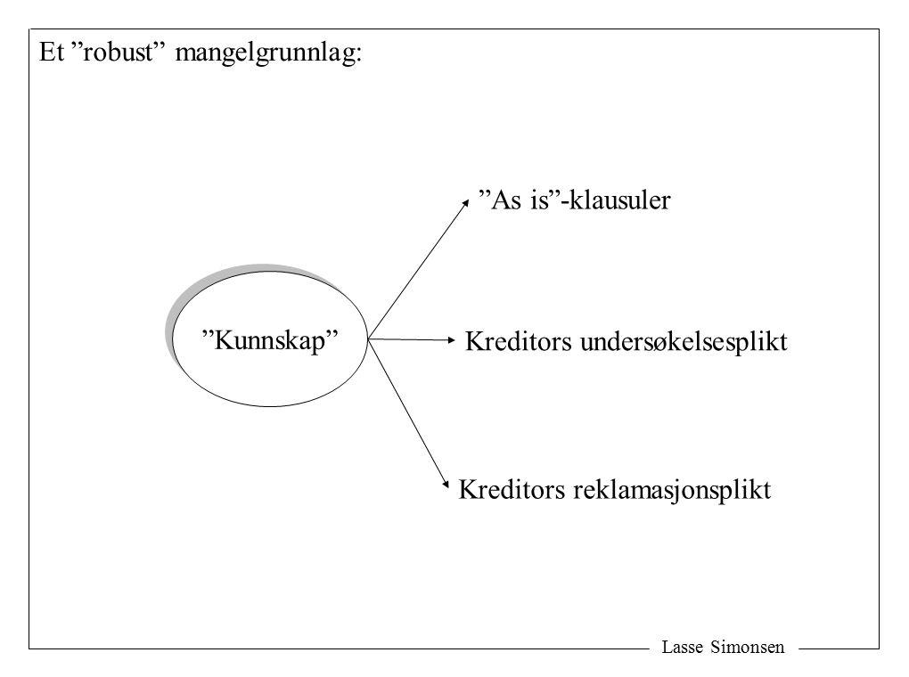 Lasse Simonsen Kunnskap As is -klausuler Kreditors undersøkelsesplikt Kreditors reklamasjonsplikt Et robust mangelgrunnlag: