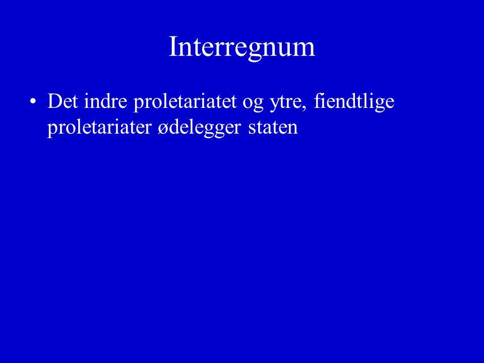 Interregnum Det indre proletariatet og ytre, fiendtlige proletariater ødelegger staten