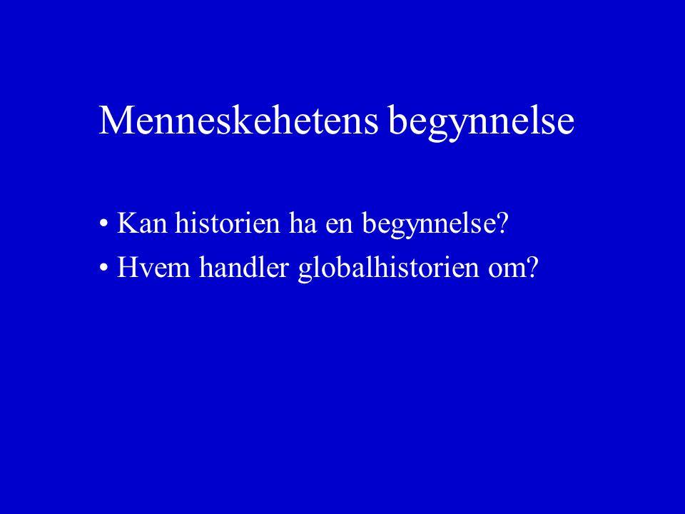 Menneskehetens begynnelse Kan historien ha en begynnelse Hvem handler globalhistorien om
