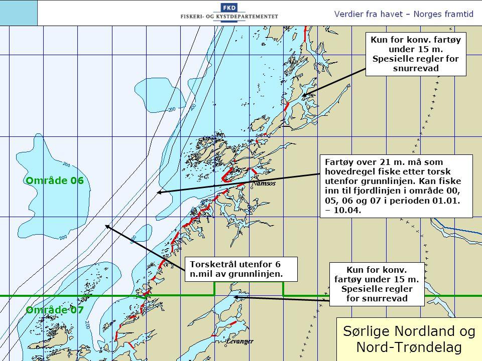 Sørlige Nordland og Nord-Trøndelag Fartøy over 21 m. må som hovedregel fiske etter torsk utenfor grunnlinjen. Kan fiske inn til fjordlinjen i område 0