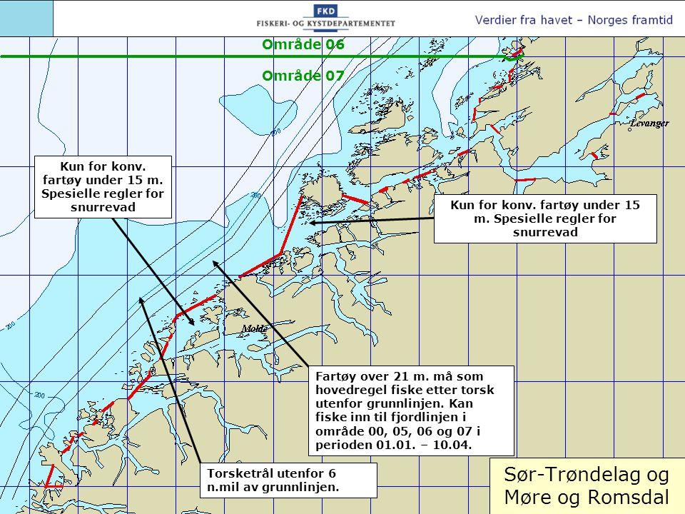 Sør-Trøndelag og Møre og Romsdal Torsketrål utenfor 6 n.mil av grunnlinjen. Fartøy over 21 m. må som hovedregel fiske etter torsk utenfor grunnlinjen.