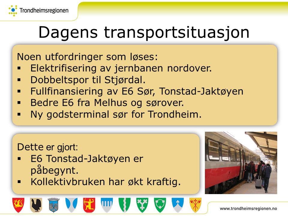 Dagens transportsituasjon Noen utfordringer som løses:  Elektrifisering av jernbanen nordover.  Dobbeltspor til Stjørdal.  Fullfinansiering av E6 S