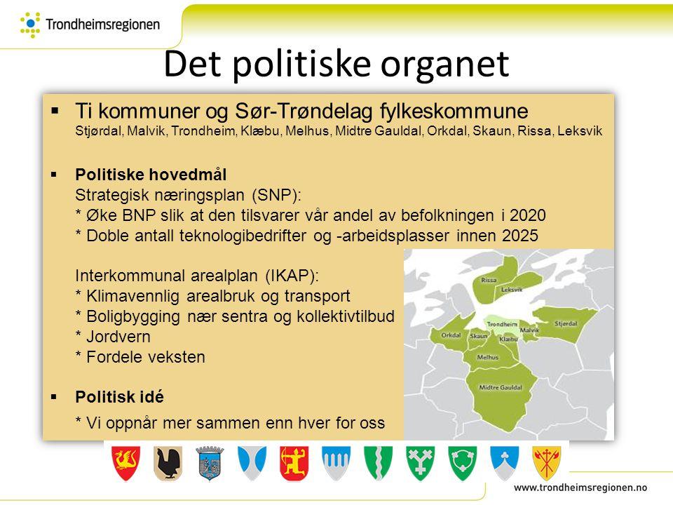 Det politiske organet  Ti kommuner og Sør-Trøndelag fylkeskommune Stjørdal, Malvik, Trondheim, Klæbu, Melhus, Midtre Gauldal, Orkdal, Skaun, Rissa, L