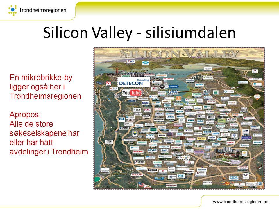 Silicon Valley - silisiumdalen En mikrobrikke-by ligger også her i Trondheimsregionen Apropos: Alle de store søkeselskapene har eller har hatt avdelin