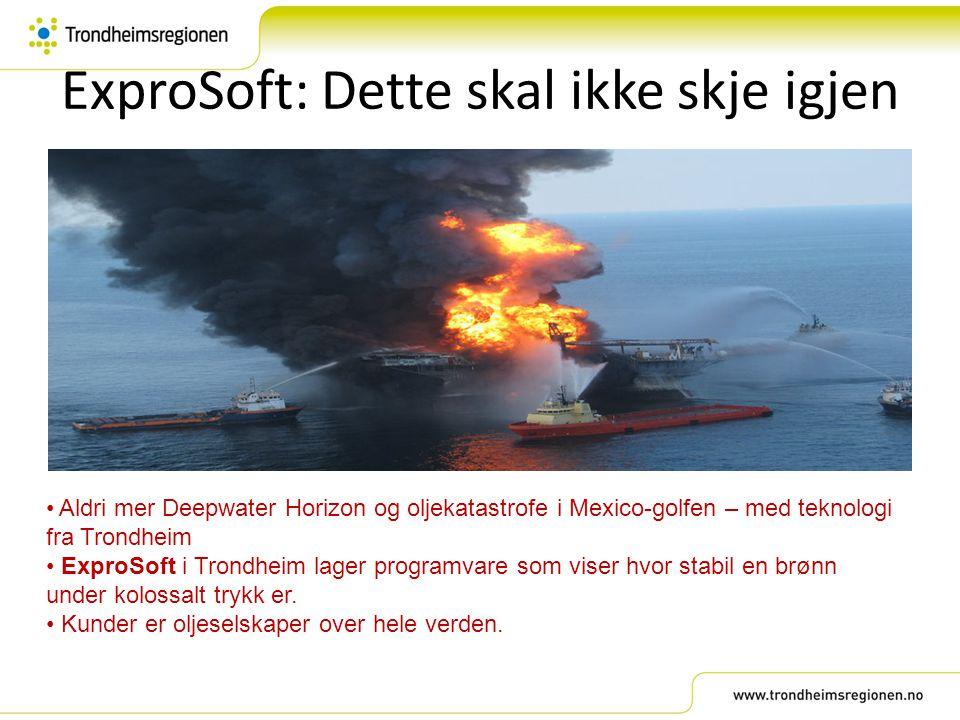 ExproSoft: Dette skal ikke skje igjen Aldri mer Deepwater Horizon og oljekatastrofe i Mexico-golfen – med teknologi fra Trondheim ExproSoft i Trondhei