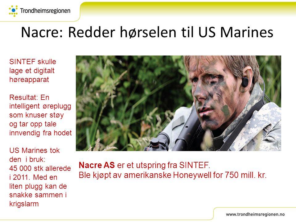 Nacre: Redder hørselen til US Marines SINTEF skulle lage et digitalt høreapparat Resultat: En intelligent øreplugg som knuser støy og tar opp tale inn