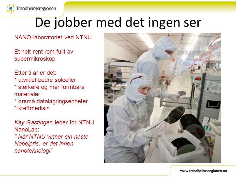 De jobber med det ingen ser NANO-laboratoriet ved NTNU Et helt rent rom fullt av supermikroskop Etter ti år er det: * utviklet bedre solceller * sterk