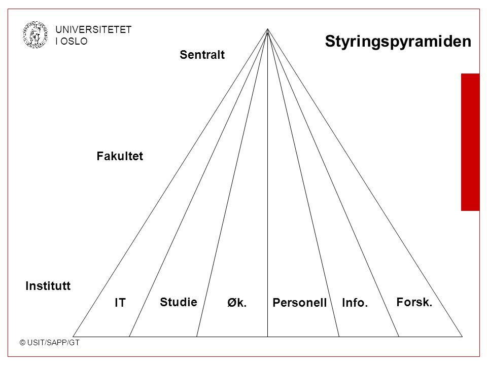 © USIT/SAPP/GT UNIVERSITETET I OSLO ITPersonellØk. Forsk.Studie Info. Sentralt Fakultet Institutt Styringspyramiden
