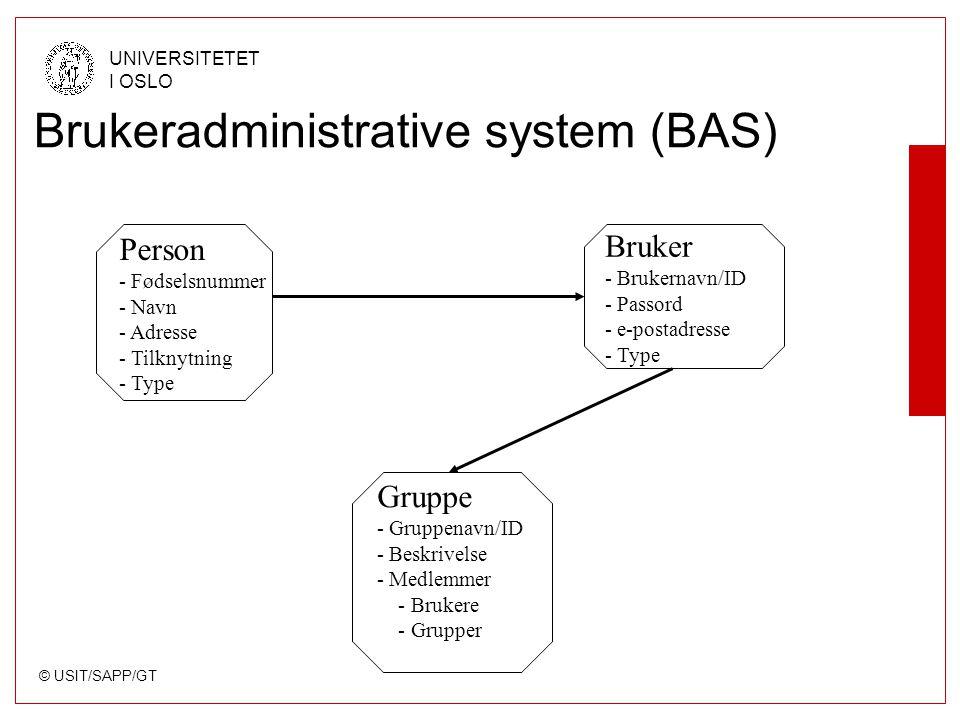 © USIT/SAPP/GT UNIVERSITETET I OSLO Brukeradministrative system (BAS) Person - Fødselsnummer - Navn - Adresse - Tilknytning - Type Gruppe - Gruppenavn