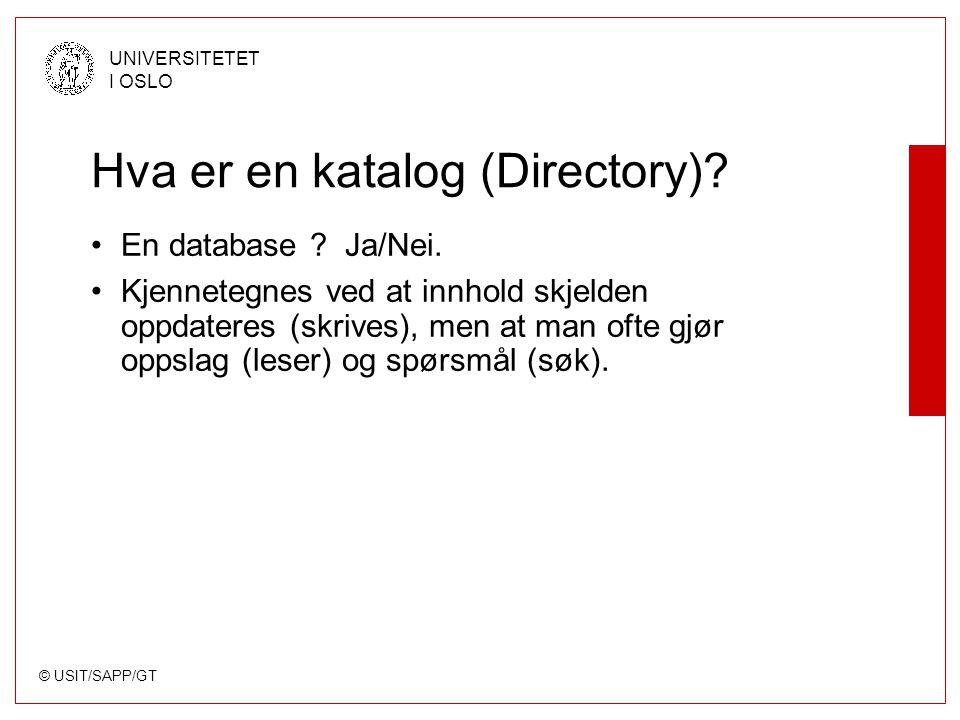 © USIT/SAPP/GT UNIVERSITETET I OSLO Hva er en katalog (Directory)? En database ? Ja/Nei. Kjennetegnes ved at innhold skjelden oppdateres (skrives), me