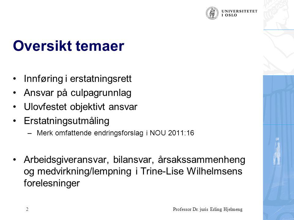 53 Professor Dr.juris Erling Hjelmeng Særlige erstatningsformer I Ménerstatning –Skl.