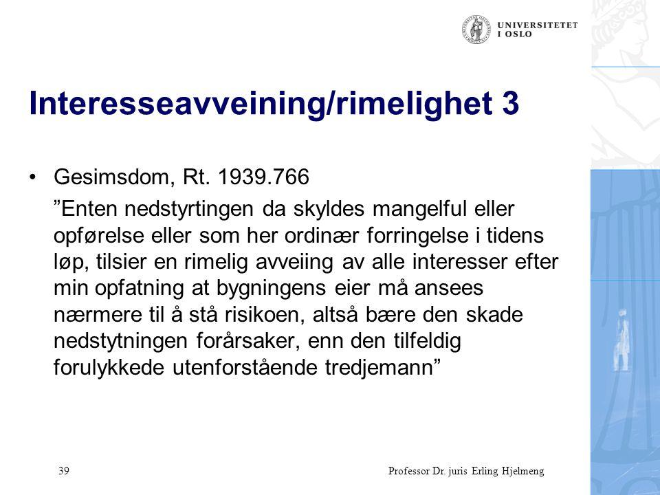 39 Professor Dr. juris Erling Hjelmeng Interesseavveining/rimelighet 3 Gesimsdom, Rt.