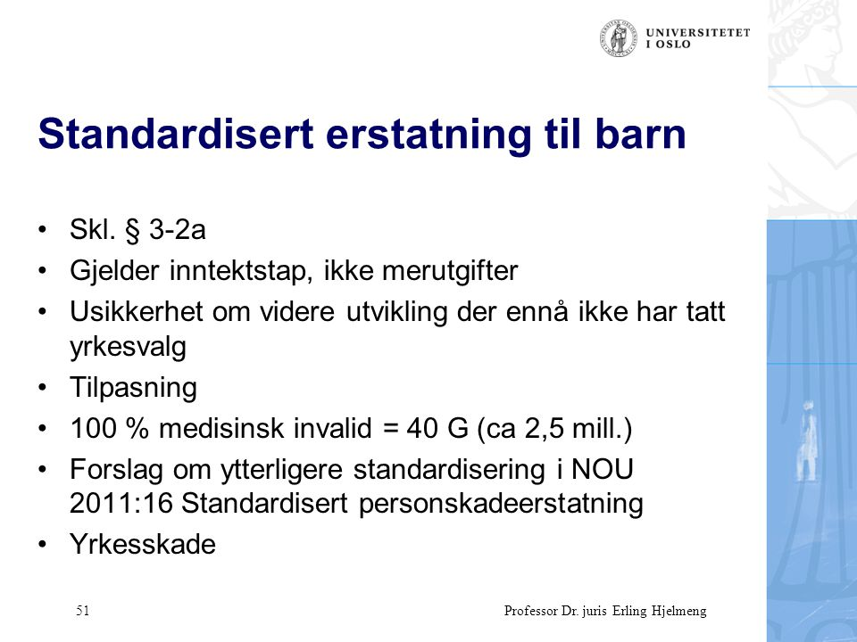 51 Professor Dr. juris Erling Hjelmeng Standardisert erstatning til barn Skl.