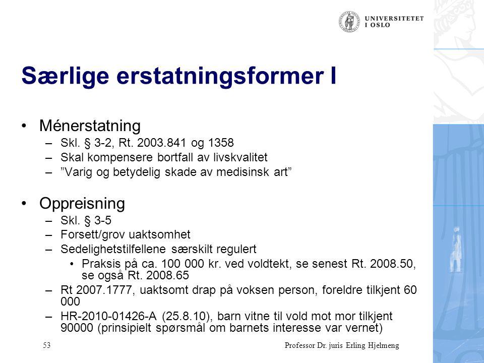 53 Professor Dr. juris Erling Hjelmeng Særlige erstatningsformer I Ménerstatning –Skl.