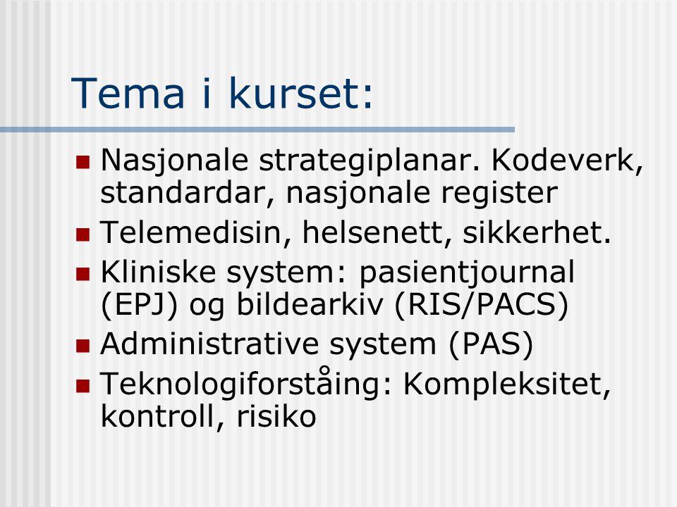 Tema i kurset: Nasjonale strategiplanar.
