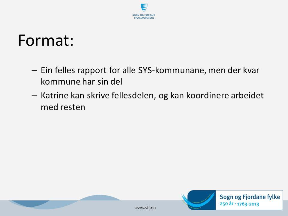 Format: – Ein felles rapport for alle SYS-kommunane, men der kvar kommune har sin del – Katrine kan skrive fellesdelen, og kan koordinere arbeidet med resten www.sfj.no