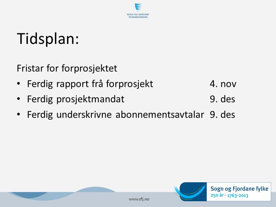Tidsplan: Fristar for forprosjektet Ferdig rapport frå forprosjekt 4.