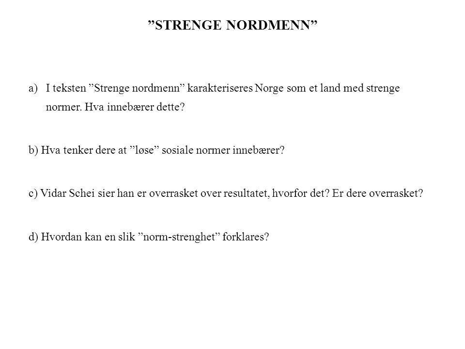 """""""STRENGE NORDMENN"""" a)I teksten """"Strenge nordmenn"""" karakteriseres Norge som et land med strenge normer. Hva innebærer dette? b) Hva tenker dere at """"løs"""