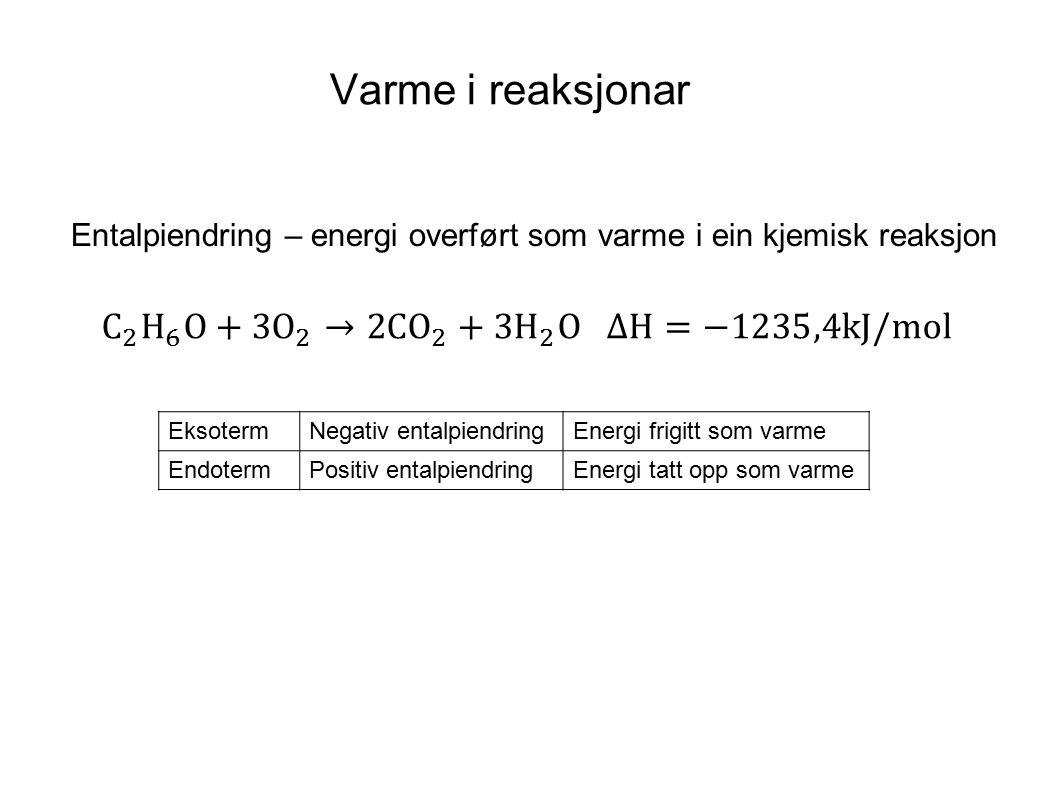 Varme i reaksjonar Entalpiendring – energi overført som varme i ein kjemisk reaksjon EksotermNegativ entalpiendringEnergi frigitt som varme EndotermPo