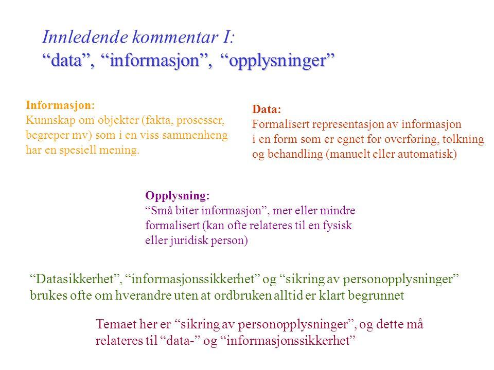 Krav til sikring av personopplysninger Prof. Dag Wiese Schartum, AFIN