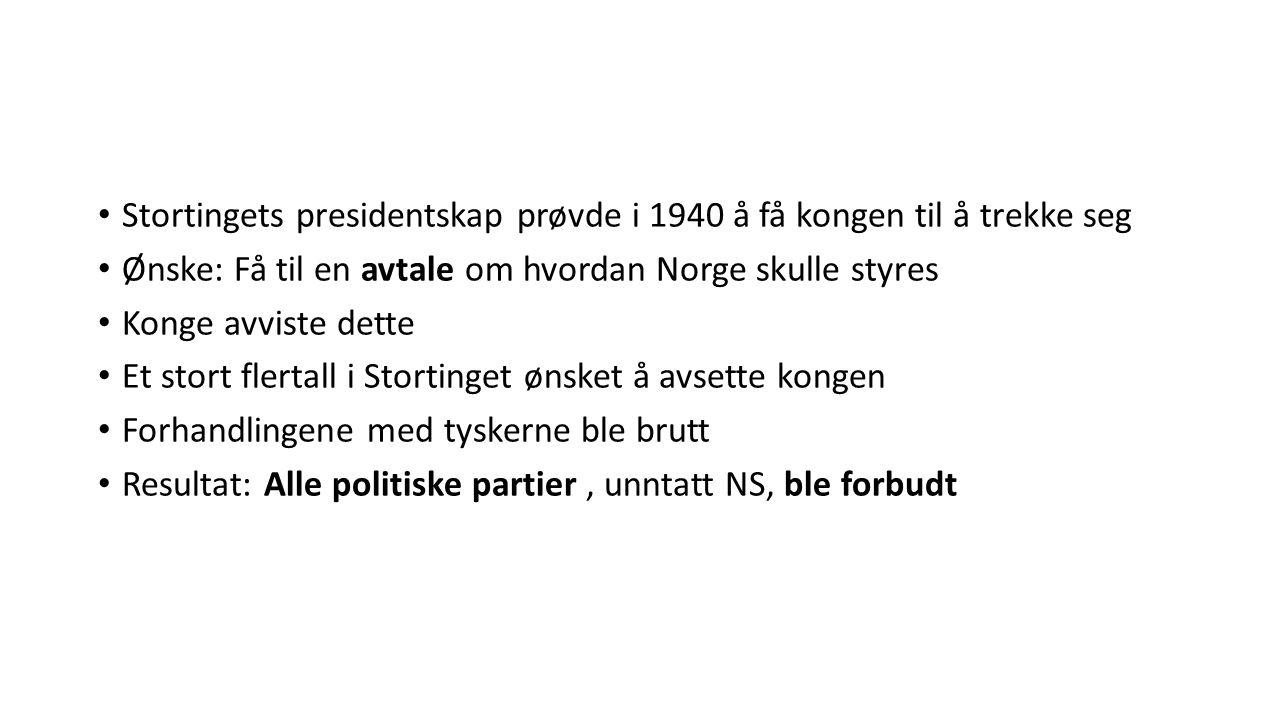 Stortingets presidentskap prøvde i 1940 å få kongen til å trekke seg Ønske: Få til en avtale om hvordan Norge skulle styres Konge avviste dette Et sto