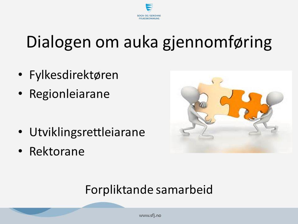 Dialogen om auka gjennomføring Fylkesdirektøren Regionleiarane Utviklingsrettleiarane Rektorane Forpliktande samarbeid www.sfj.no