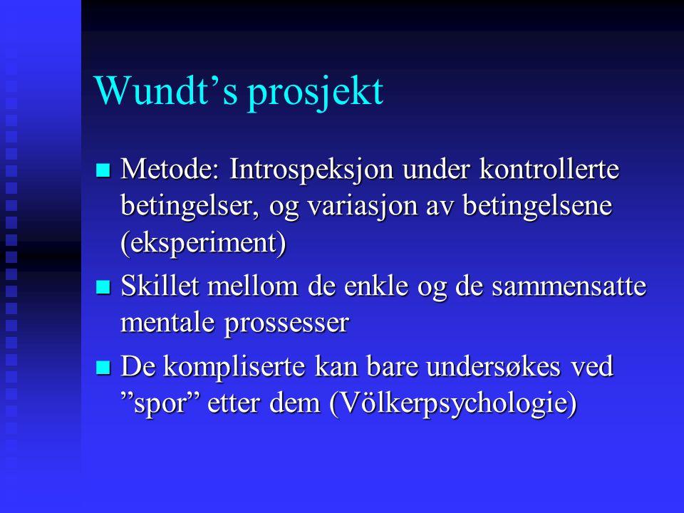 Wundt's prosjekt Metode: Introspeksjon under kontrollerte betingelser, og variasjon av betingelsene (eksperiment) Metode: Introspeksjon under kontroll