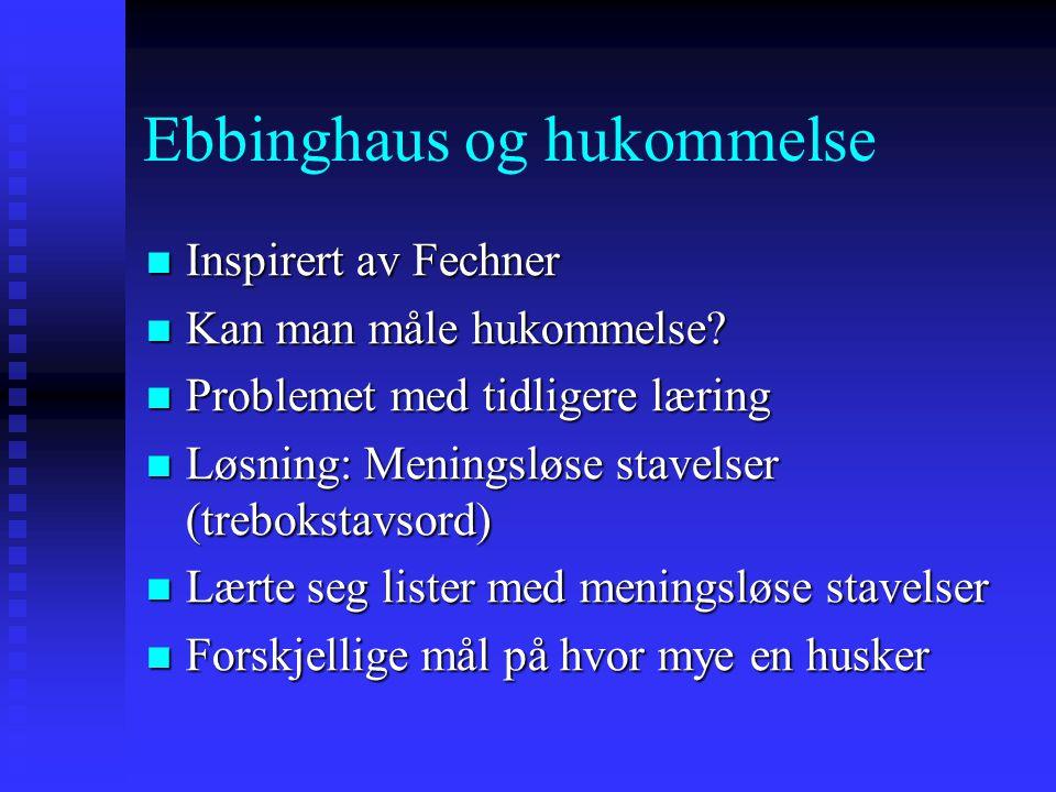 Ebbinghaus og hukommelse Inspirert av Fechner Inspirert av Fechner Kan man måle hukommelse? Kan man måle hukommelse? Problemet med tidligere læring Pr