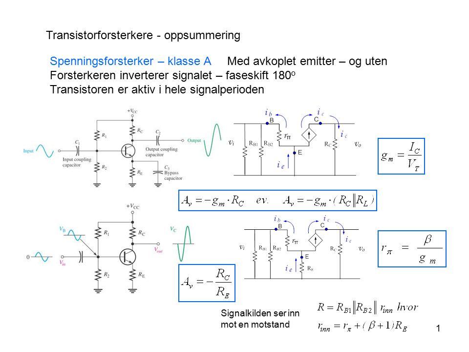 1 Transistorforsterkere - oppsummering Spenningsforsterker – klasse A Med avkoplet emitter – og uten Forsterkeren inverterer signalet – faseskift 180
