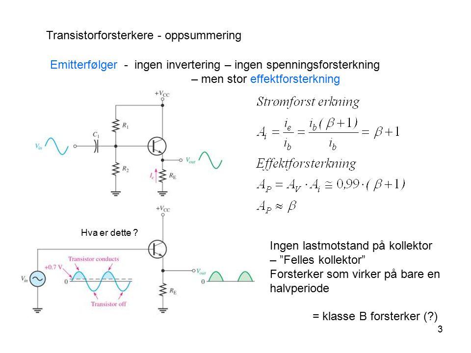 3 Transistorforsterkere - oppsummering Emitterfølger - ingen invertering – ingen spenningsforsterkning – men stor effektforsterkning Ingen lastmotstan